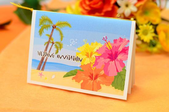 夏、リゾート、海外ウェディングにもオススメ!爽やかなハイビスカスの手作り招待状キットを送りましょう