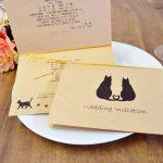手作り 招待状キット クラフト紙 猫