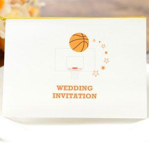 ポップなバスケデザインの招待状