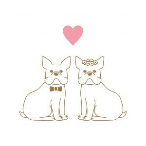フレンチブルドッグ 犬 結婚式 ペーパーアイテム