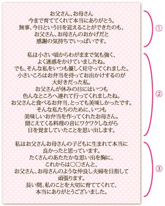 花嫁の手紙文例