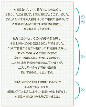 新郎謝辞の文例