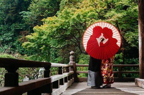 番傘を使った前撮りアイディア