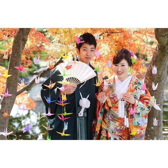 折り鶴で幻想的な前撮り写真を